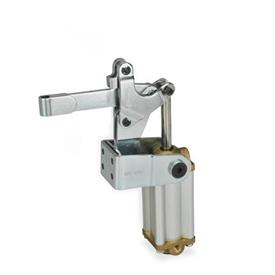 GN 862 Toggle clamps, pneumatic, with angled base Type: EPV3 - Solid clamping bar with clasp for welding