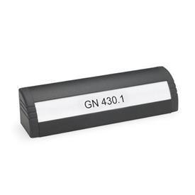GN 430.1 Griffleisten, mit Beschriftungsfeld Oberfläche: SW - schwarz, RAL 9005, strukturmatt