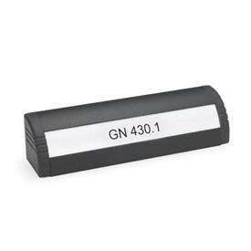 GN 430.1 Ledge handles, with lettering block Finish: SW - black, RAL 9005, textured finish