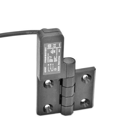 GN 239.4 Scharniere mit Anschlusskabel Kennzeichen: SL - Bohrungen für Senkschraube, Schalter links Form: CK - Anschlusskabel hinten