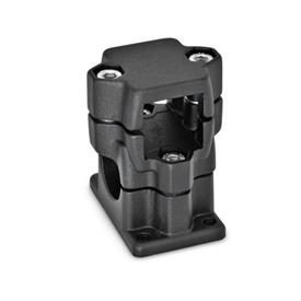 GN 141 Flanged two-way connector clamps, multi part assembly d<sub>1</sub> / s<sub>1</sub>: V - Square<br />d<sub>2</sub> / s<sub>2</sub>: B - Bore<br />Finish: SW - black, RAL 9005, textured finish