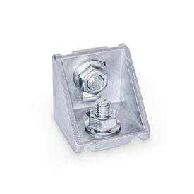 GN 960 Winkel für Profilsysteme 30 / 40 / 45, Aluminium Form: C - mit Montageset, ohne Abdeckkappe<br />Oberfläche: MT - matt, gleitgeschliffen