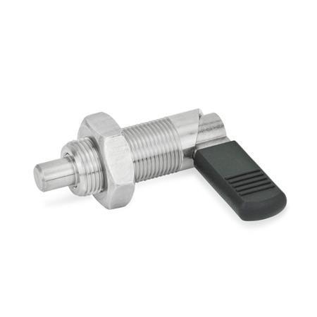 GN 612 Edelstahl-Rastriegel Form: BK - mit Kunststoffkappe, mit Kontermutter Werkstoff: NI - Edelstahl