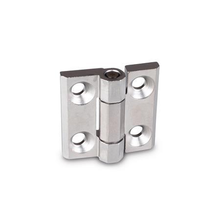GN 237.3 Bisagras de alta resistencia de acero inoxidable  Material: NI - Acero inoxidable Tipo: A - con orificios para tornillos avellanados Acabado: GS - granallado mate