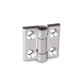 GN 237.3 Stainless Steel-Heavy duty hinges  Material: NI - Stainless Steel<br />Type: A - with bores for countersunk screws<br />Finish: GS - matte shot-blasted