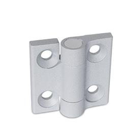 GN 437.1 Hinges, Zinc die casting Color: SR - silver, RAL 9006, textured finish