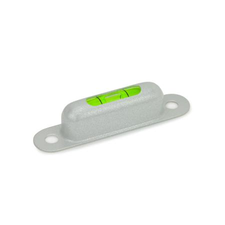 GN 2282 Screw-on spirit levels, for mounting with screws Sensitivity: 50 - Angle minutes, bubble move by 2 mm Material / Finish: MSR - silver, RAL 9006, textured finish Identification no.: 1 - Viewing window top