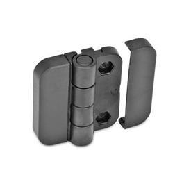 GN 122.2 Scharniere ohne Raststellungen, Kunststoff Form: EH - 2x2 Bohrungen für Sechskantschrauben