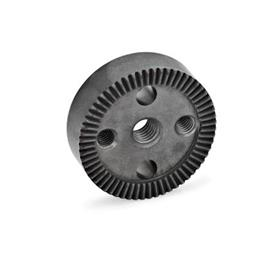 GN 187.4 Serrated locking plates, Sintered Steel Type: C - with tapped hole in the center, with two tapped mounting holes