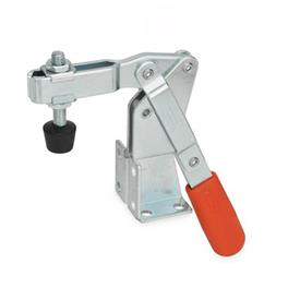 GN 812 Toggle clamps, operating lever vertical, with dual flanged mounting base Type: CV - U-bar version, with two flanged washers and GN 708.1 spindle assembly