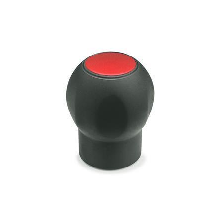 GN 675.1 Softline-Kugelgriffe mit Abdeckkappe, Kunststoff Farbe der Abdeckung: DRT - rot, RAL 3000, matt