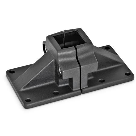 GN 167 Wide base plate connector clamps, Aluminium d<sub>1</sub> / s: V - Square Finish: SW - black, RAL 9005, textured finish