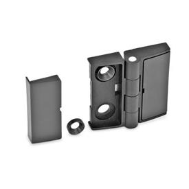GN 238 Hinges, adjustable, Zinc die casting Type: EJ - one-sided adjustable<br />Colour: SW - black, RAL 9005, textured finish