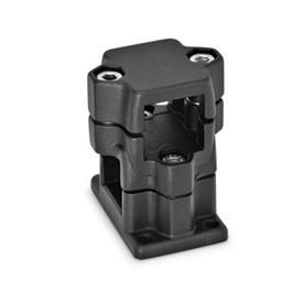 GN 141 Flanged two-way connector clamps, multi part assembly d<sub>1</sub> / s<sub>1</sub>: V - Square<br />d<sub>2</sub> / s<sub>2</sub>: V - Square<br />Finish: SW - black, RAL 9005, textured finish