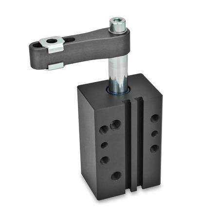 GN 875 Swing clamps, pneumatic, in block version Type: A - Clamping arm with slotted hole and two flanged washers