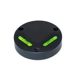 GN 2276 Kreuzlibellen, zum Anschrauben Empfindlichkeit: 50 - Winkelminuten, pro 2 mm Blasenweg<br />Form: AV - ausgerichtet, Montage von der Vorderseite (nicht justierbar)<br />Werkstoff / Oberfläche: ALS - eloxiert schwarz