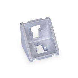 GN 960 Kulmapalat profiilijärjestelmille 30 / 40 / 45, alumiini Tyyppi: A - ilman asennussarjaa, ilman kantta<br />Pinta: MT - matta, hiottu