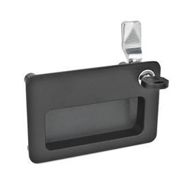 GN 115.10 Verriegelungen mit Griffschale Form: SC - Betätigung mit Schlüssel (Schloss einheitlich)<br />Oberfläche: SW - schwarz, RAL 9005, strukturmatt<br />Identification no.: 2 - Betätigung, in dargestellter Lage, rechts oben