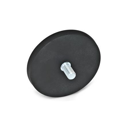 GN 51.3 Aimants de retenue avec goujon fileté + gaine en caoutchouc Couleur: SW - noir