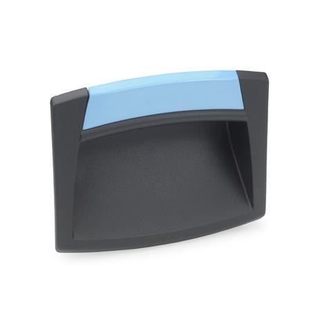 GN 733 Griffschalen, zum Anschrauben, Kunststoff Form: O - ohne Schließklappe Farbe der Abdeckung: DBL - blau, RAL 5024, matt