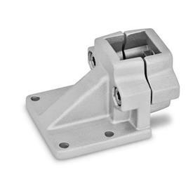 GN 166 Abrazaderas de conexión con placa base descentrada, aluminio d<sub>1</sub> / s: V - Orificio cuadrado<br />Acabado: BL - natural, granallado mate