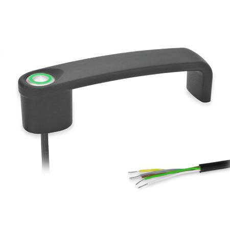 GN 422 Bügelgriffe, mit elektrischer Schaltfunktion, mit Kabel Form: T1 - mit 1 Taster Oberfläche: SW - schwarz, RAL 9005, strukturmatt