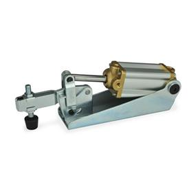 GN 860 Toggle clamps, pneumatic, with magnetic piston Type: CP3 - U-bar version, with two flanged washers and GN 708.1 spindle assembly
