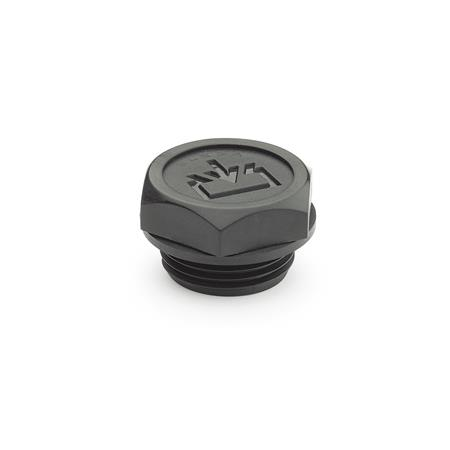 GN 747 Threaded plugs with re-fill symbol, Sealing overlying, Plastic Type: A - without dipstick Air vent drilling: 1 - without vent drilling