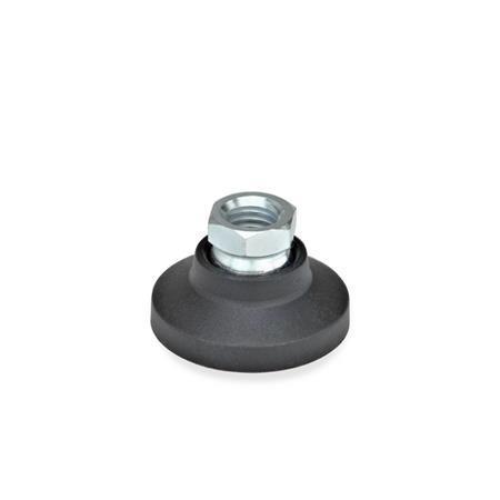GN 343.3 Gelenkfüße, Fuß Kunststoff / Gewindebuchse Stahl Form: A - ohne Gummiauflage