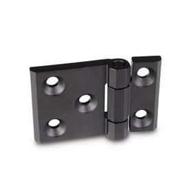 GN 237.3 Stainless Steel-Heavy duty hinges, horizontally elongated Material: NI - Stainless Steel<br />Type: A - with bores for countersunk screws<br />Finish: SW - black, RAL 9005, textured finish