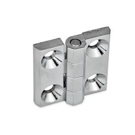 GN 237 Hinges, Zinc die casting / Aluminum Material: ZD - Zinc die casting<br />Type: A - 2x2 bores for countersunk screws<br />Finish: CR - chrome-plated