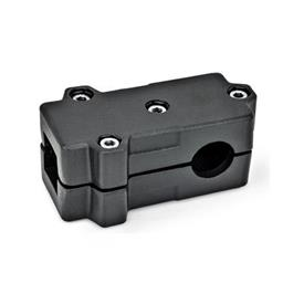 GN 193 Abrazaderas de conexión en ángulo, aluminio d<sub>1</sub> / s<sub>1</sub>: V - Orificio cuadrado<br />d<sub>2</sub> / s<sub>2</sub>: B - Orificio redondo<br />Acabado: SW - negro, RAL 9005, acabado texturado