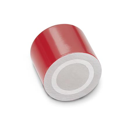 GN 52.3 Retaining Magnets with Internal Thread Finish: RT - Red, Lacquered