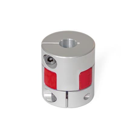 GN 2240 Elastomer jaw couplings with clamping hub Bore code: B - without keyway Hardness: RS - 98 Shore A, red