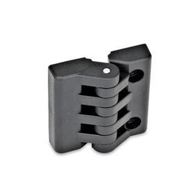 GN 151 Scharniere, Kunststoff Form: H - 2x Gewindesacklöcher / 2x Bohrungen für Zylinderschrauben