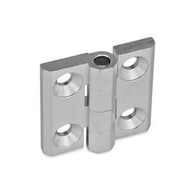 GN 237 Scharniere, Zink-Druckguss / Aluminium Werkstoff: AL - Aluminium<br />Form: A - 2x2 Bohrungen für Senkschrauben<br />Oberfläche: EL - eloxiert, naturfarben