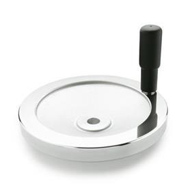 GN 321 Scheibenhandräder, blank, Radkranz poliert Bohrungskennzeichnung: B - ohne Nabennut<br />Form: R - mit drehbarem Griff