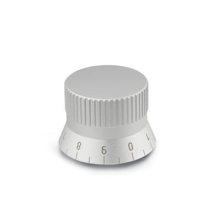 GN 723.4 Drehknöpfe, Aluminium, naturfarben eloxiert Form: S - mit Skala 0...9, 20 Teilstriche