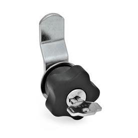 GN 217 Verriegelungen mit und ohne Schloss    Ausführung: B - mit gekröpftem Schließriegel<br />Ausführung: SR - abschließbar durch Rechtsdrehung