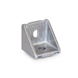 GN 961 Angle Pieces for Profile Systems 30 / 40, Aluminum Type of angle piece: A - without assembly set, without cover<br />Finish: MT - Matte, ground
