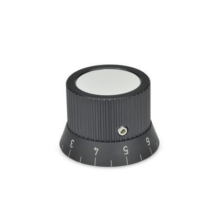 GN 726.2 Pomos giratorios, aluminio, con anillo de graduación Tipo: S - con escala de 0...9, 20 graduaciones N.º de identificación: 1 - con tornillo prisionero