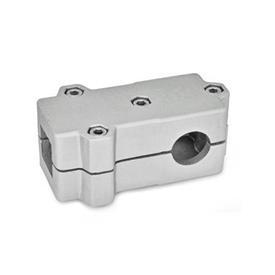 GN 193 T-Angle Connector Clamps, Aluminum d<sub>1</sub> / s<sub>1</sub>: V - Square<br />d<sub>2</sub> / s<sub>2</sub>: B - Bore<br />Finish: BL - Plain, Matte shot-blasted