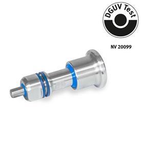 GN 8170 Doigts d'indexage en inox, conception hygiénique côté bouton et goupille (hygiène complète) Type: B - sans position de repos<br />Identification: VH - Conception hygiénique côté bouton et goupille (hygiène complète)