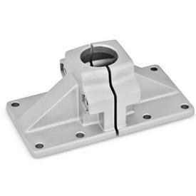 GN 167 Abrazaderas de conexión con placa base ancha, aluminio d<sub>1</sub> / s: B - Orificio redondo<br />Acabado: BL - natural, granallado mate