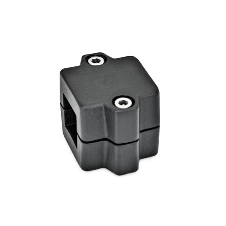 GN 241 Tube connector joints, Aluminium Finish: SW - black, RAL 9005, textured finish Identification No.: 2 - with 2 Stainless Steel-Clamping screws DIN 912