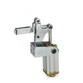 GN 862 Toggle clamps, pneumatic, with angled base Type: APV3 - U-bar version, with two flanged washers