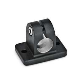 GN 145 Flanged connector clamps, Aluminum Finish: SW - black, RAL 9005, textured finish
