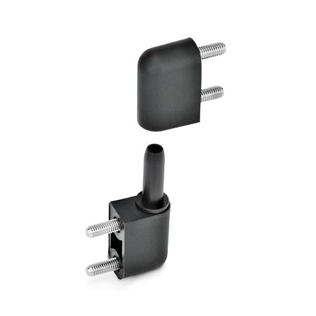 GN 160 Scharniere mit Exzenterstift, Kunststoff Form: B - 2x2 Gewindestifte