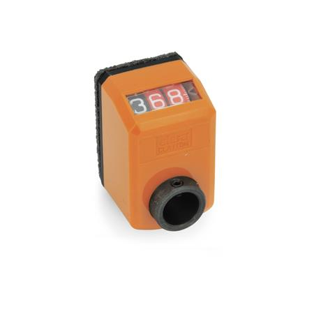 GN 955 Position indicators, digital, 3 digits Installation (Front view): AN - on the chamfer, above Color: OR - orange, RAL 2004