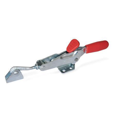 GN 850.2 Sauterelles, avec crochet de sécurité, pour action de traction Type: TU - avec axe de tirage + cran d'arrêt + boulon de verrouillage à crochet enJ